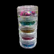 Kit com 5 Cores Torre de Glitter Flocado Maquiagem Unhas Encapsulamento Pote Médio