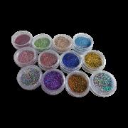Kit com 12 Potinhos com Glitter Brilho Purpurina Unhas Alongamento
