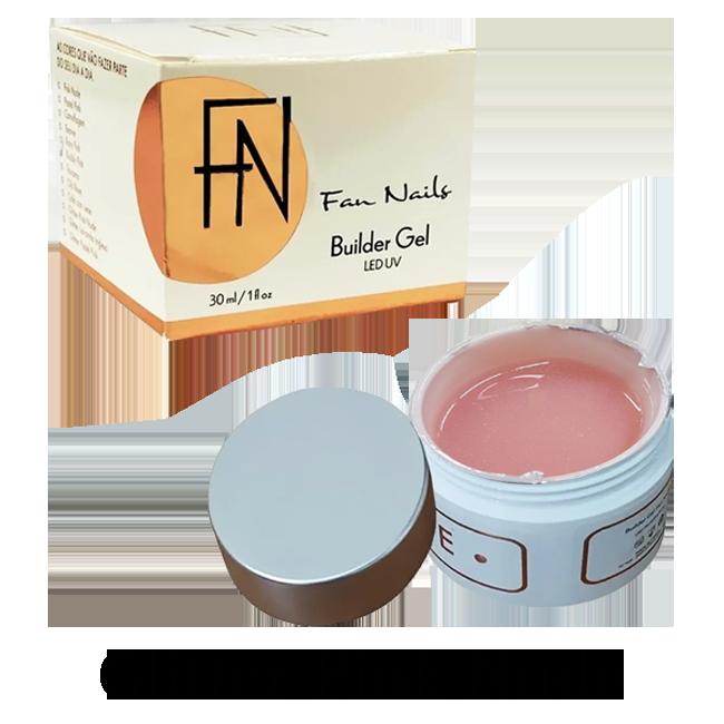 Builder Gel Fan Nails Auto Brilho Autonivelante Glitter Pink Nude