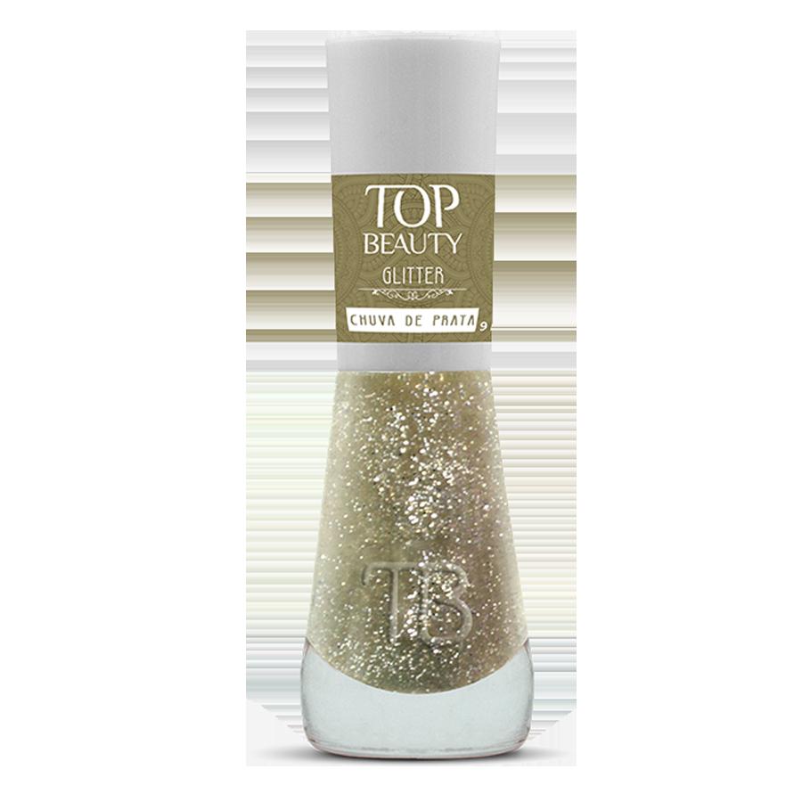 Esmalte Premium Glitter Top Beauty 9ml  Chuva de Prata