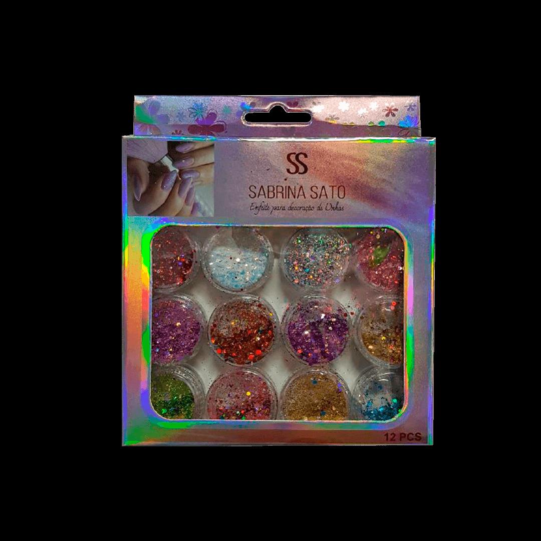 Glitter Encapsulado de Unhas Gel Acrigel Fibra Flocado Sabrina Sato 12 Peças