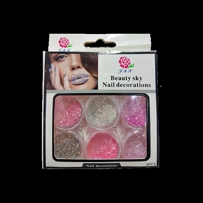 Glitter Rosa Para Unhas Em Gel J&X