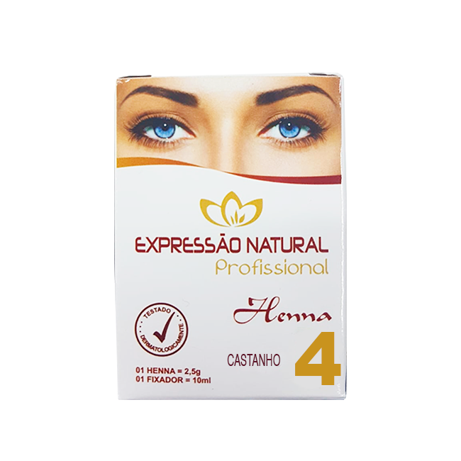 Henna Expressão Natural Castanho Profissional + Fixador 2,5g