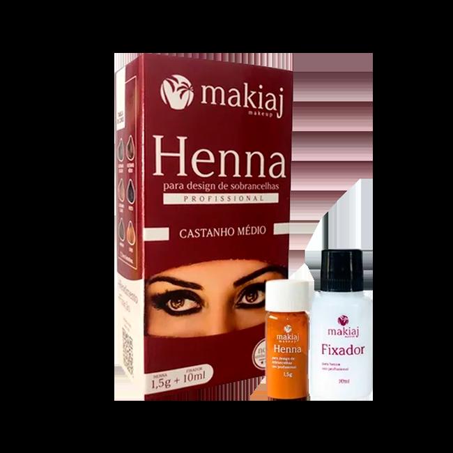 Henna Makiaj para Design Sobrancelha Castanho Médio 1,5g + 10ml