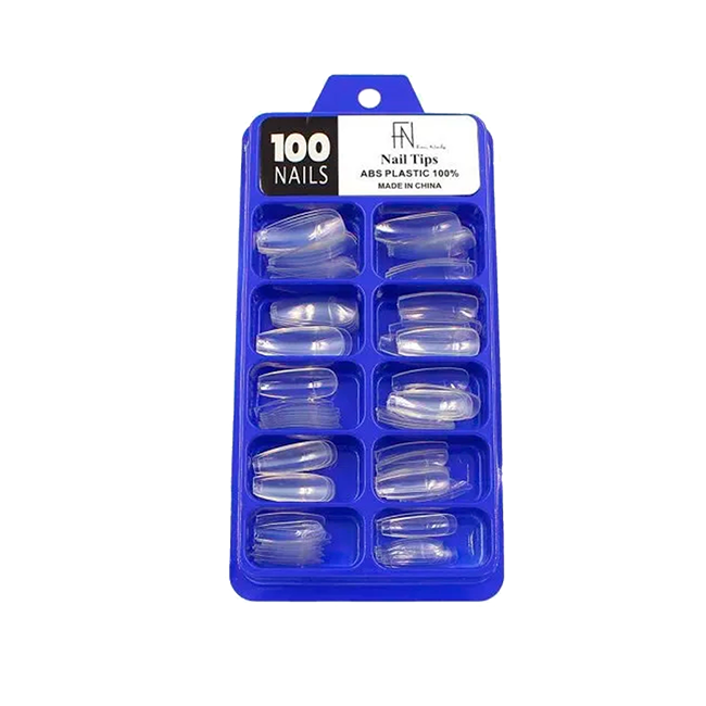 Kit 100 Tips Sorriso Alongamento De Unhas Gel Acrigel Transparente Fan Nails ABS Plastic 100%