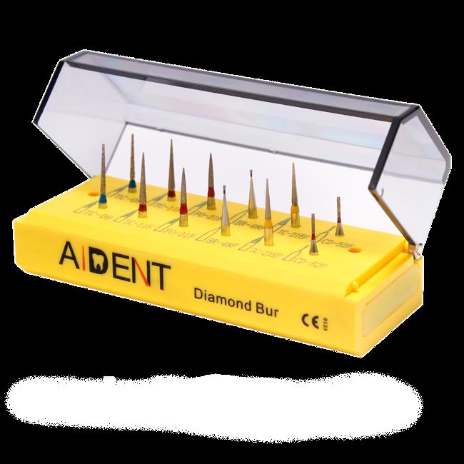 Kit com 12  Broca de Diamante Odontológicas para Limpeza Caixa Retífica de Precisão