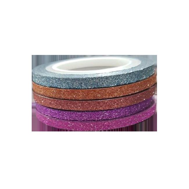 Kit com 5 Fitilho Glitter 2mm Adesivo para Unhas Decoradas e Encapsulada Cores Variadas