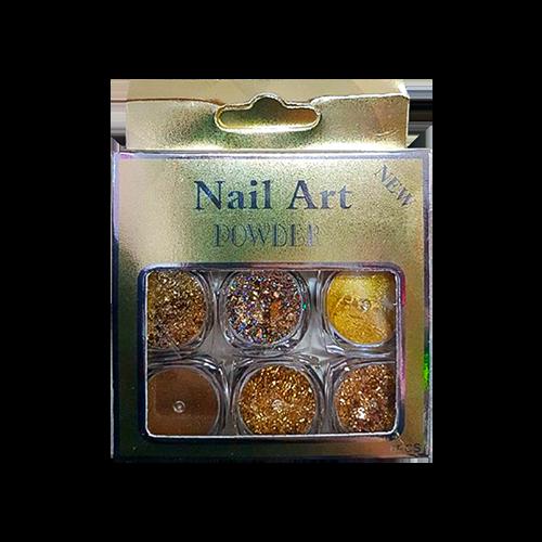 Glitter Encapsulado de Unhas Gel Acrigel Fibra Brilho Purpurina Cor Dourada 6 Peças