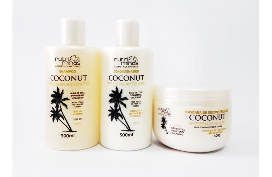 Kit Nutriminas Coconut Shampoo, Condicionador e Mascara