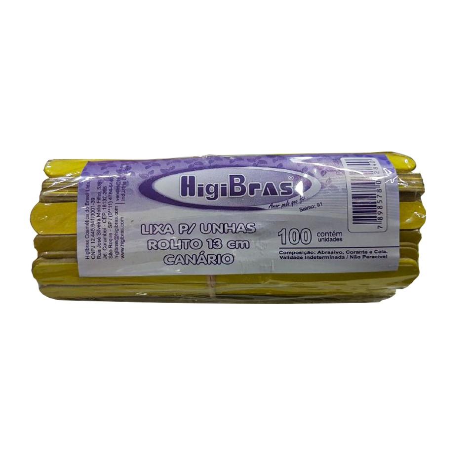 Lixa para Unhas Rolito 13cm Canário HigiBras 100 unidades