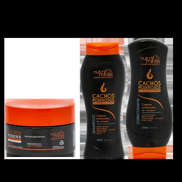 Máscara Shampoo e Condicionador Cachos Poderosos Nutriminas Reconstrução Intensiva