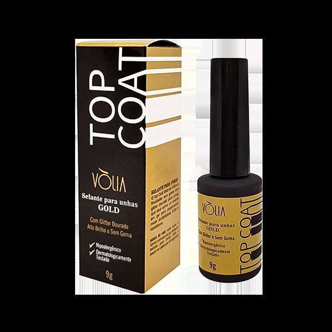 Top Coat Vòlia Selante Finalizador Glitter Gold Uv 9g