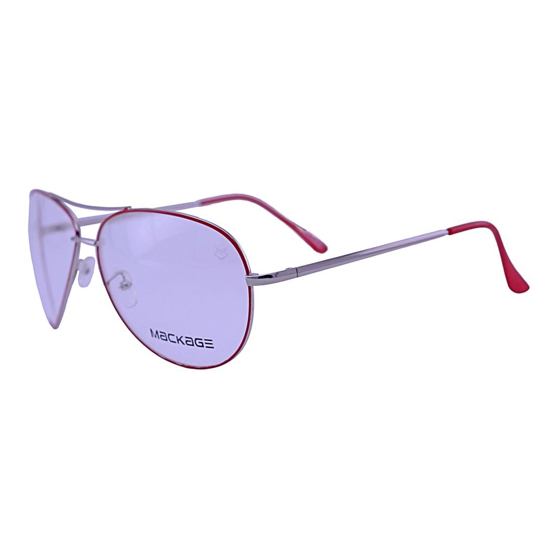 Armação para Óculos De Grau Mackage Unissex Aviador - Prata/Vermelho