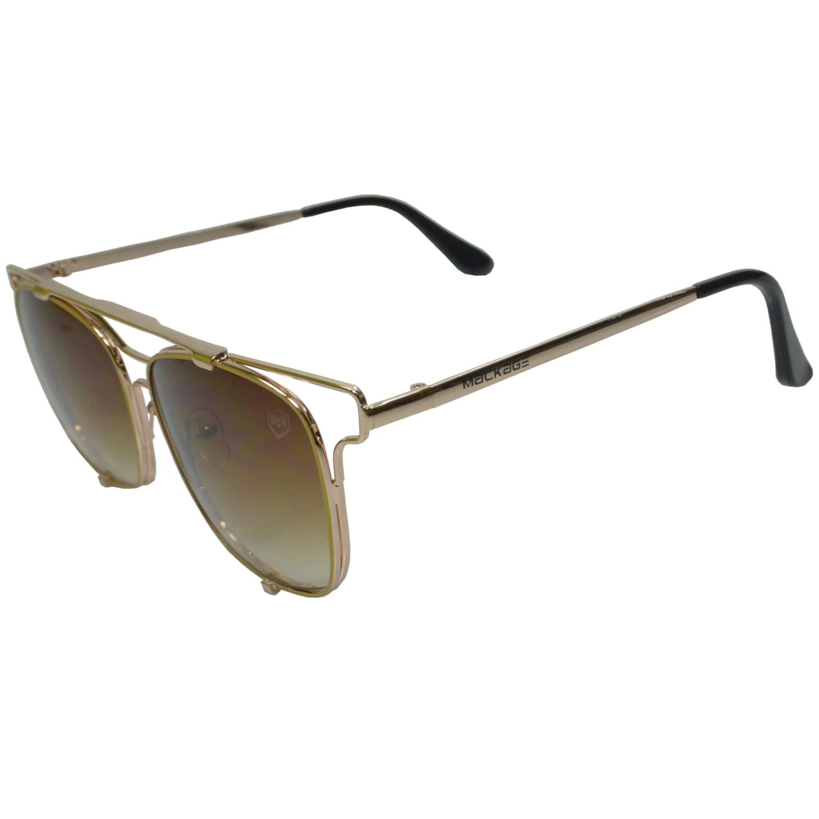 Óculos De Sol Mackage Unissex Metal Geométrico - Dourado