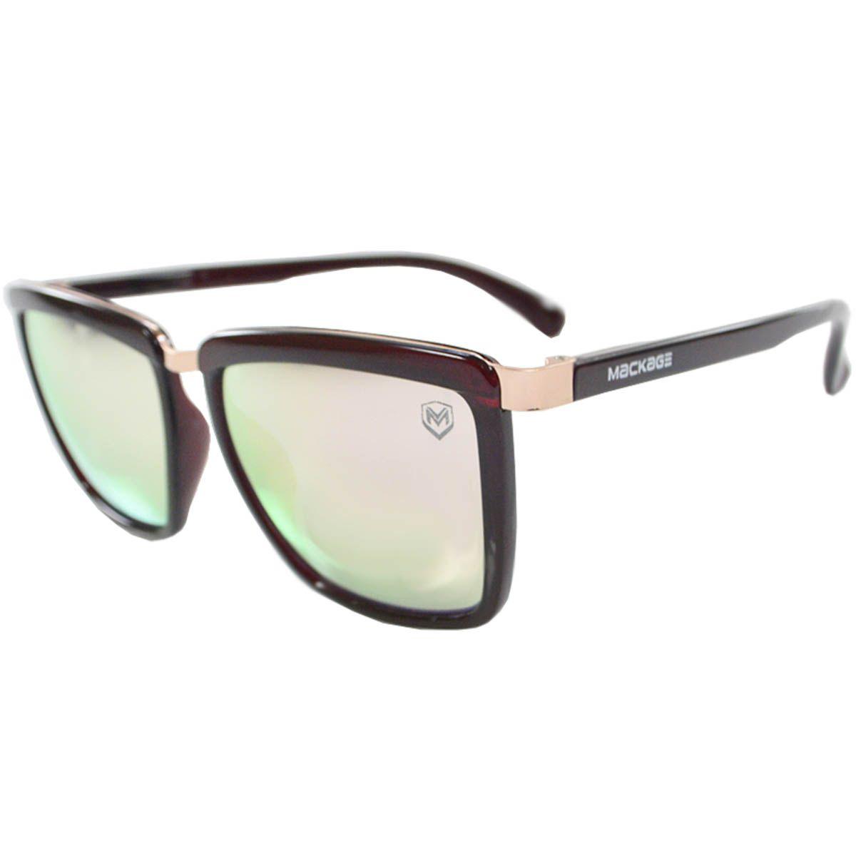 Óculos De Sol Mackage Feminino Acetato Retangular - Vinho/Espelhado