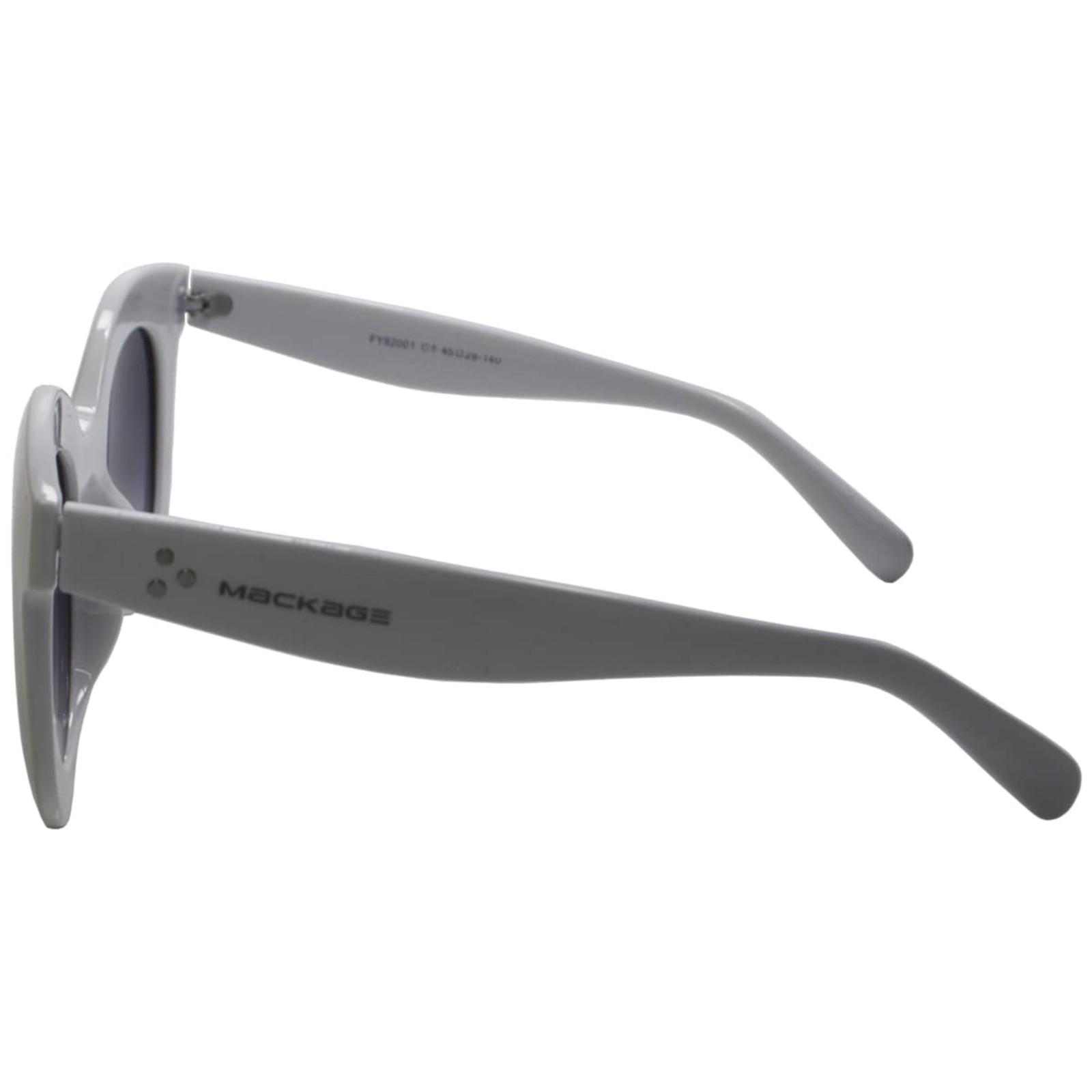 Óculos De Sol Mackage Acetato Feminino Oversize Redondo Retrô - Branco