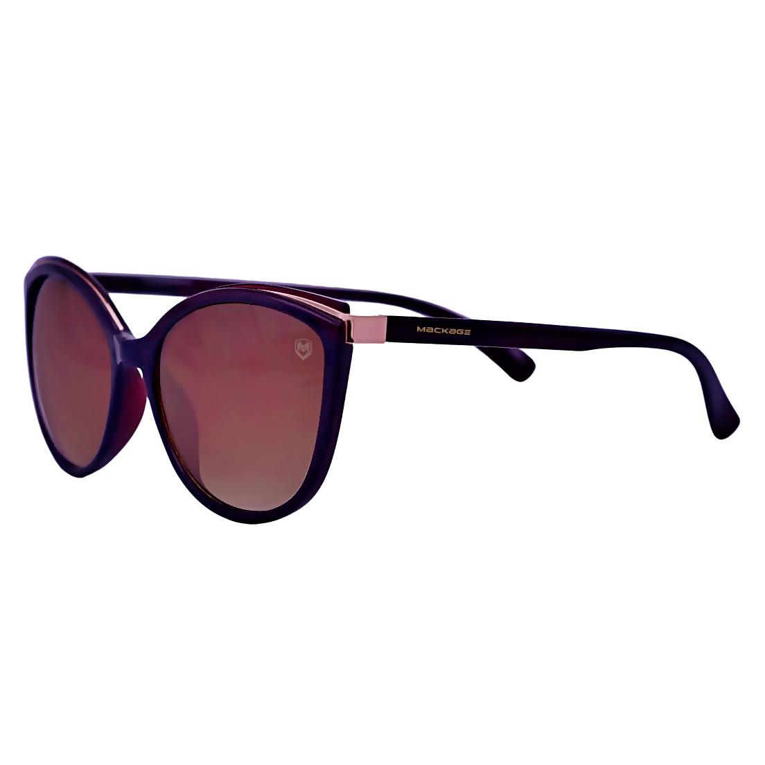 Óculos De Sol Mackage Feminino Acetato Oval - Marrom