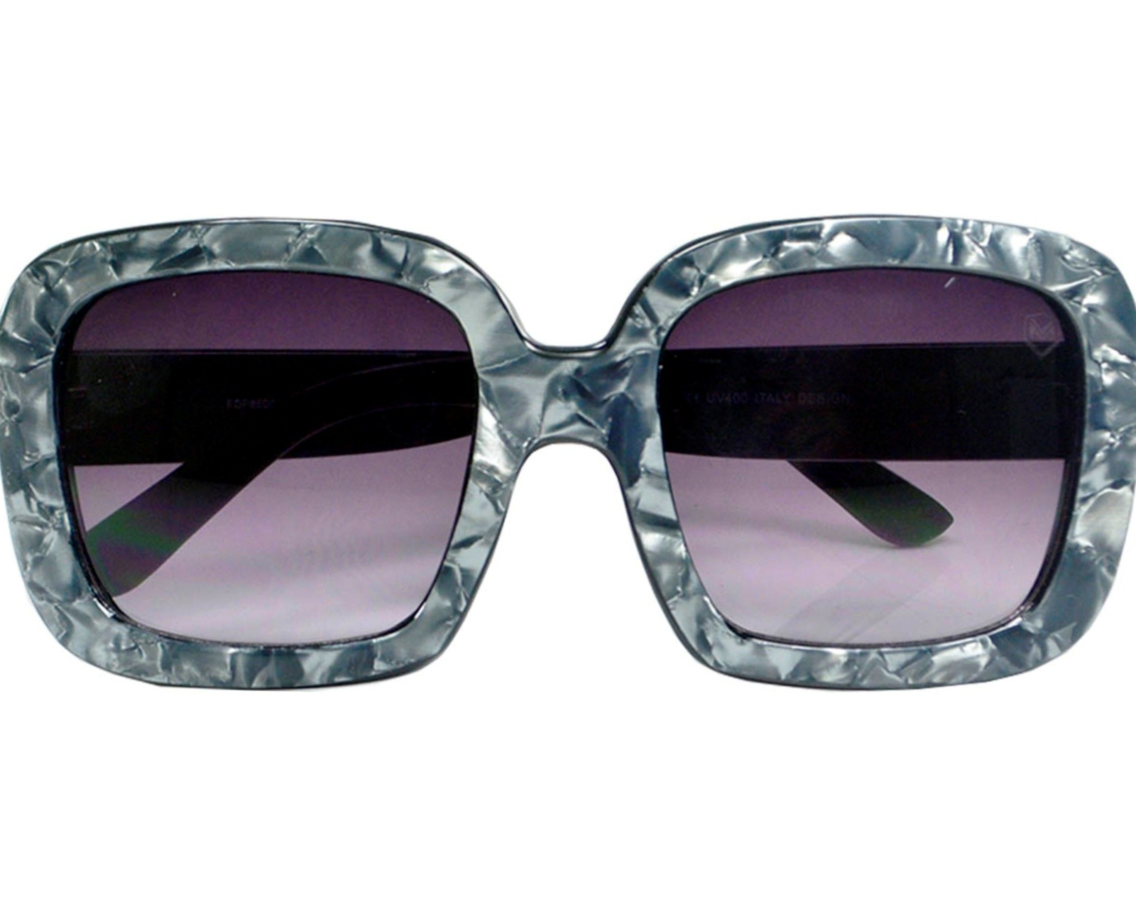 Óculos De Sol Mackage Feminino Acetato Oversize Quadrado Retrô - Cinza Marmorizado