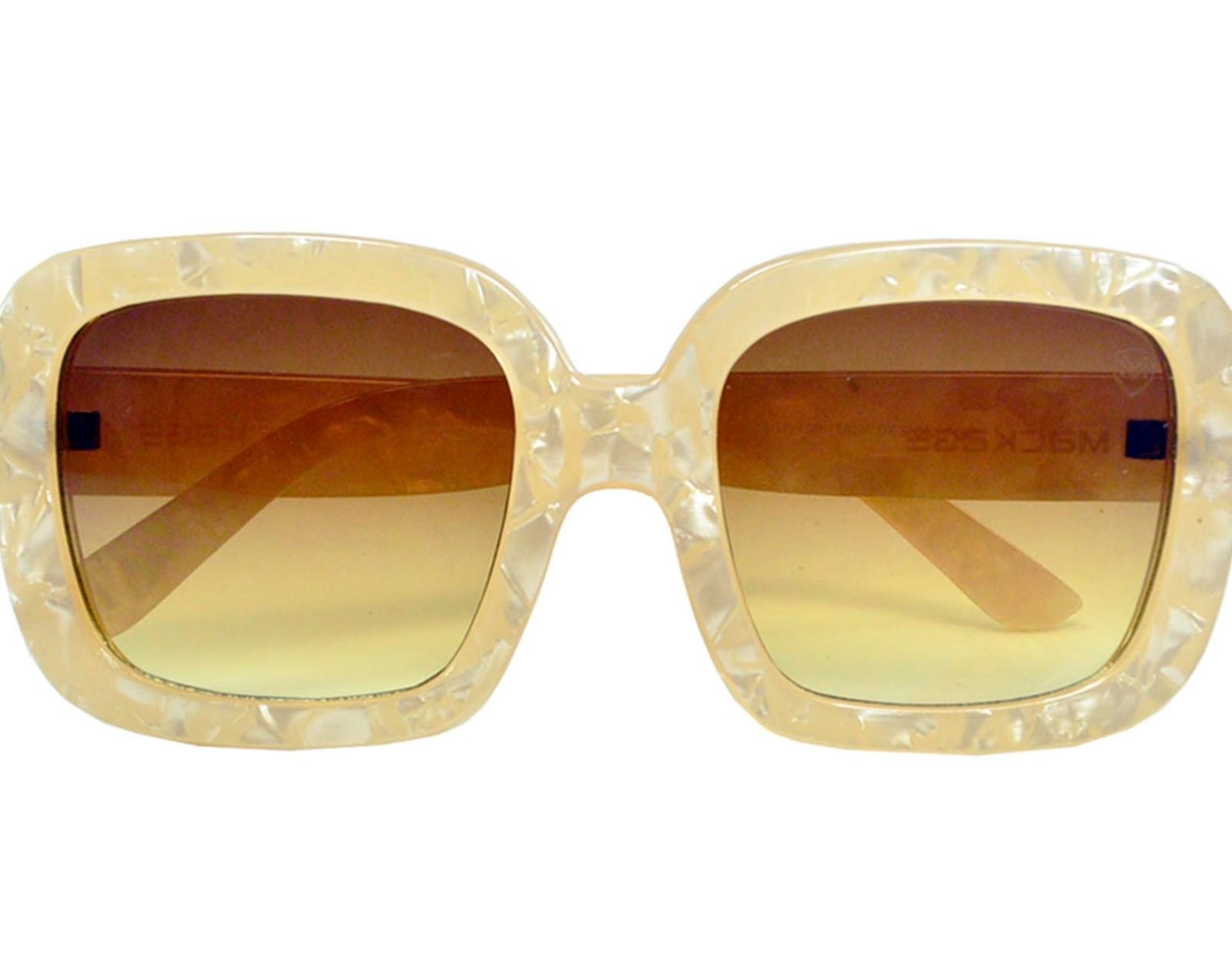 Óculos De Sol Mackage Feminino Acetato Oversize Quadrado Retrô - Nude Marmorizado