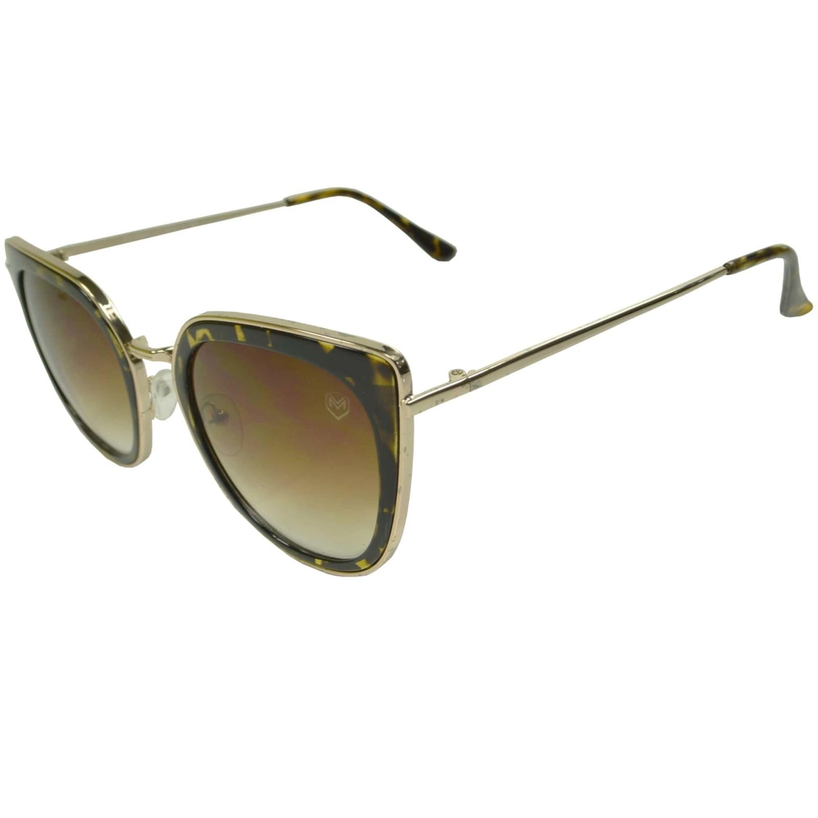 Óculos de Sol Mackage Feminino Metal/Acetato Gateado - Dourado/Tarta