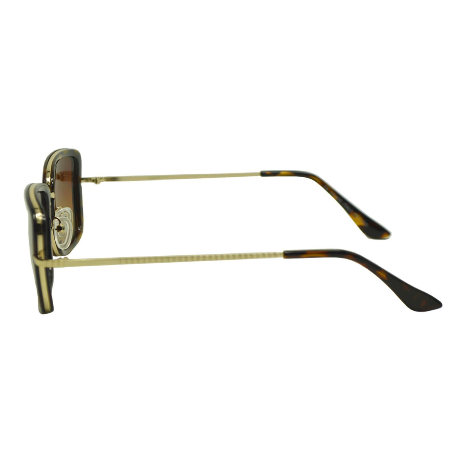 Óculos de Sol Mackage Feminino Metal/Acetato Quadrado - Dourado/Tarta