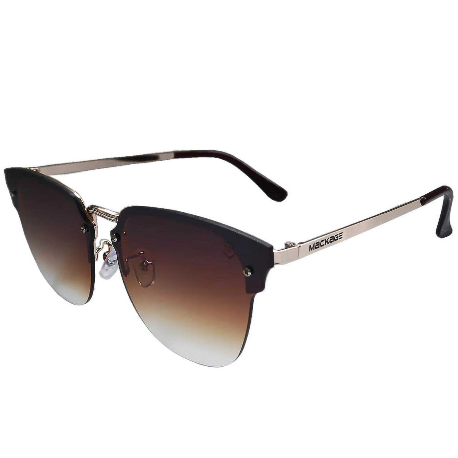 Óculos De Sol Mackage Feminino Metal Gateado Rimless - Marrom
