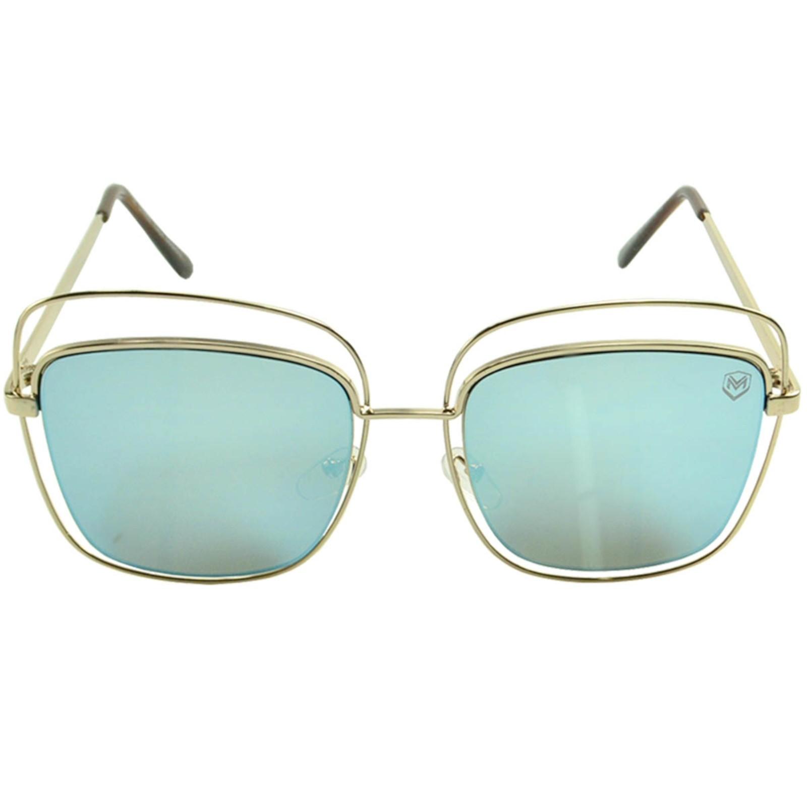 Óculos de Sol Mackage Feminino Metal Geométrico - Dourado/Azul