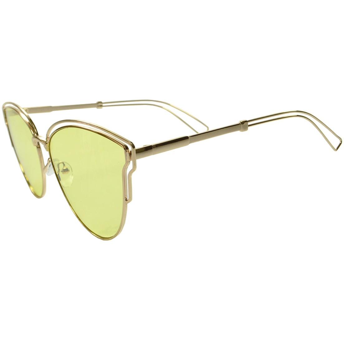 Óculos de Sol Mackage Feminino Metal Oversize Gateado - Dourado