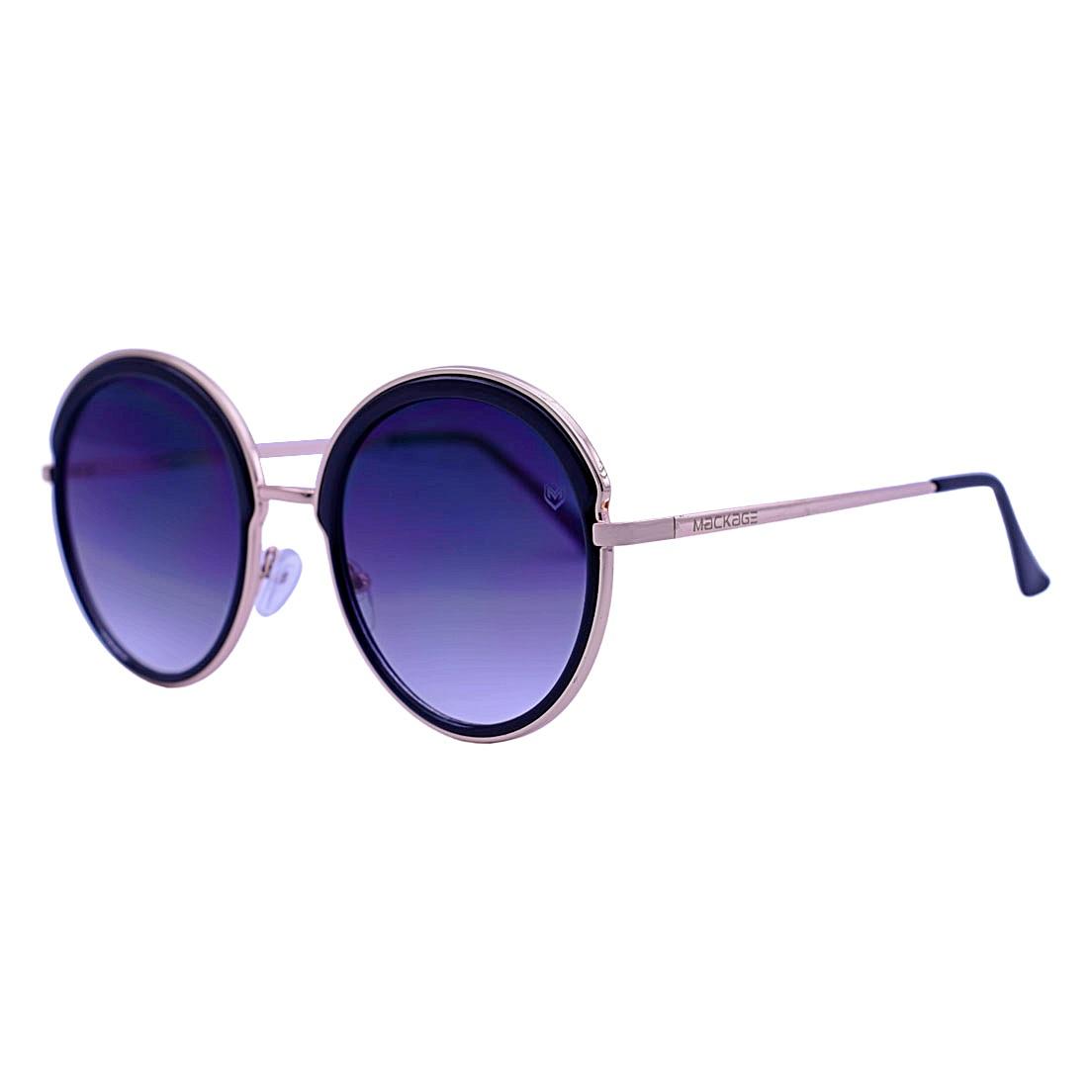 Óculos De Sol Mackage Feminino Metal Oversize Redondo - Dourado/Preto