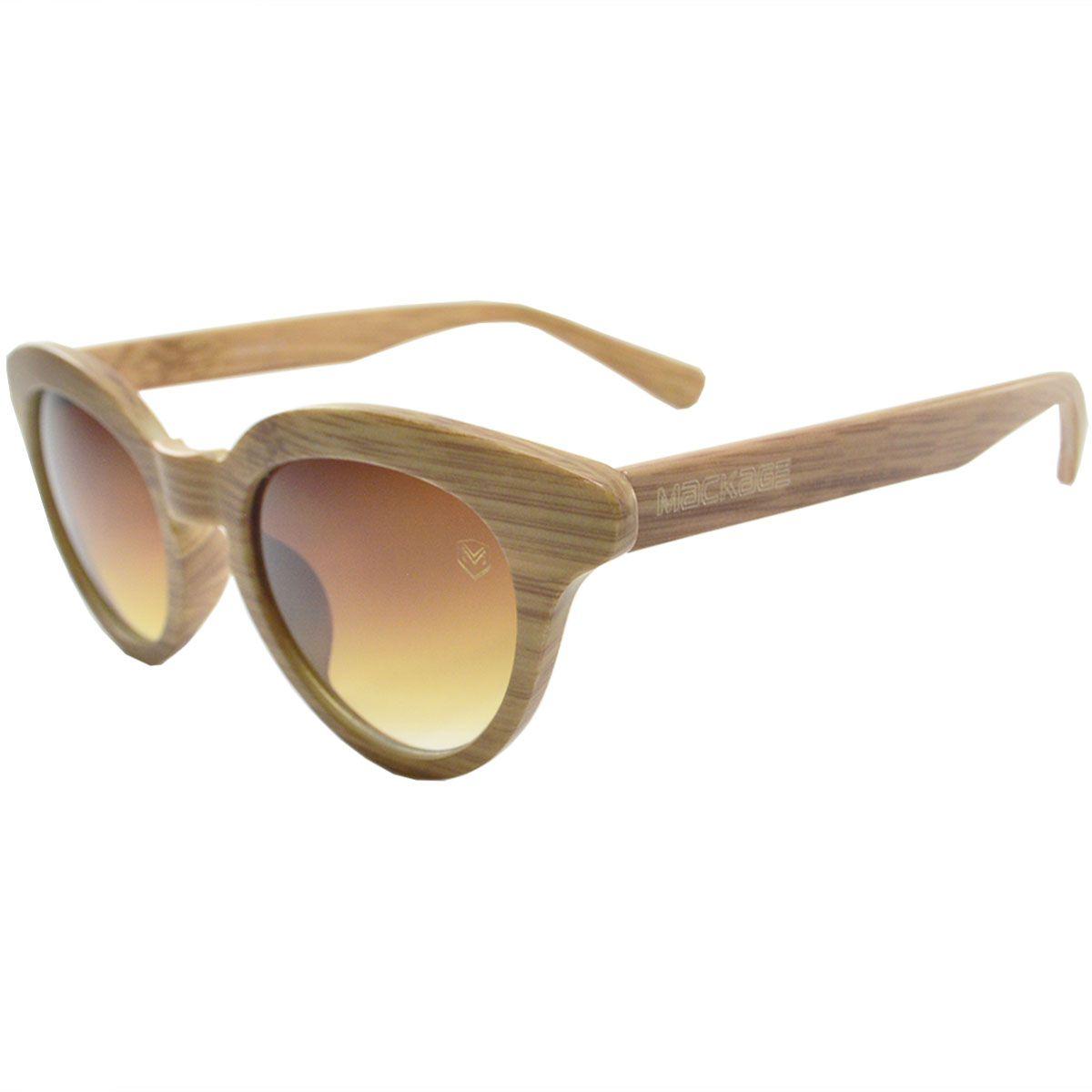 Óculos De Sol Mackage Feminino Acetato Gateado Acabamento Madeirado