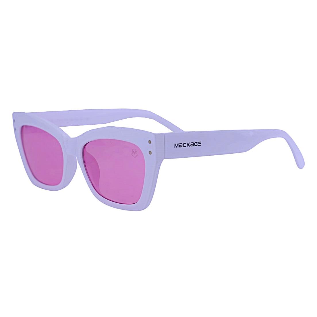 Óculos De Sol Mackage Feminino Retangular Retrô - Branco