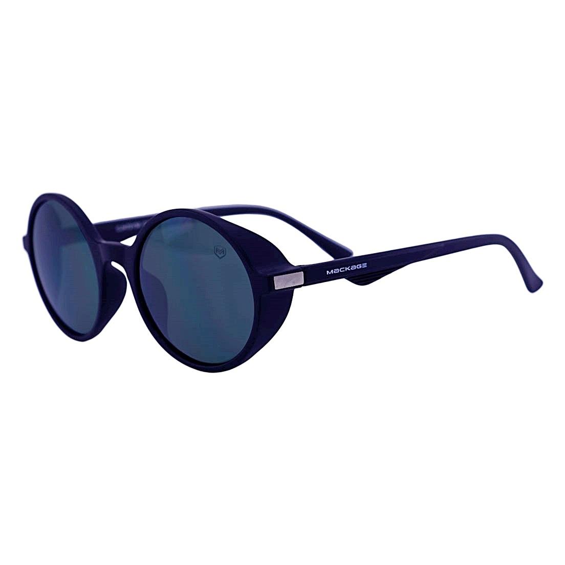 Óculos De Sol Mackage Masculino Acetato Redondo Steampunk  - Preto Fosco