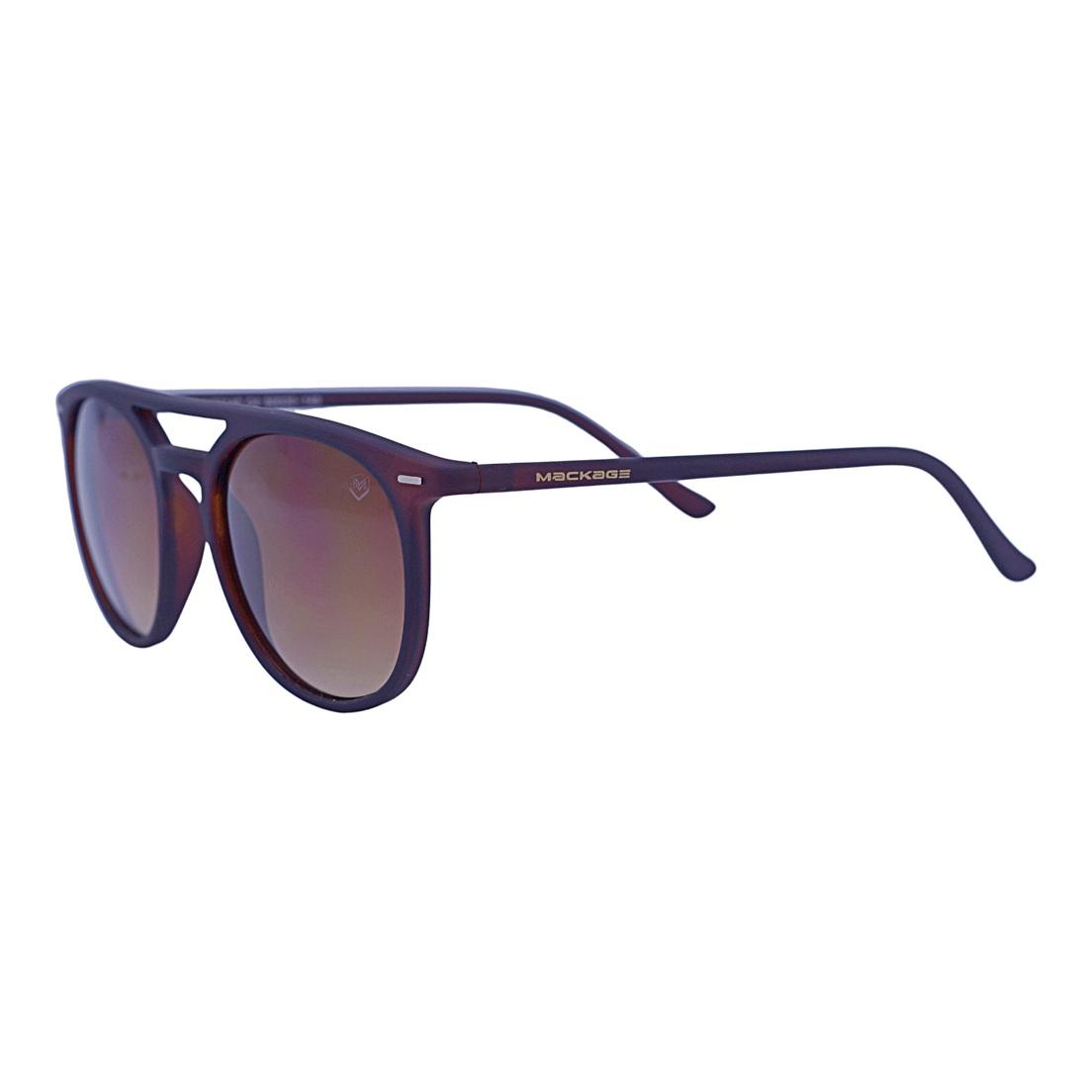 Óculos De Sol Mackage Masculino Acetato Retangular - Marrom Fosco
