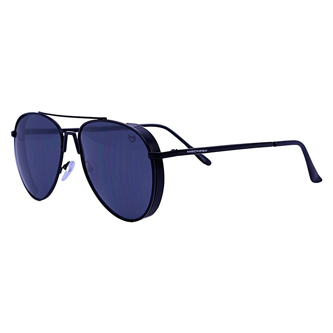Óculos De Sol Mackage Masculino Metal Aviador Steampunk - Preto Fosco
