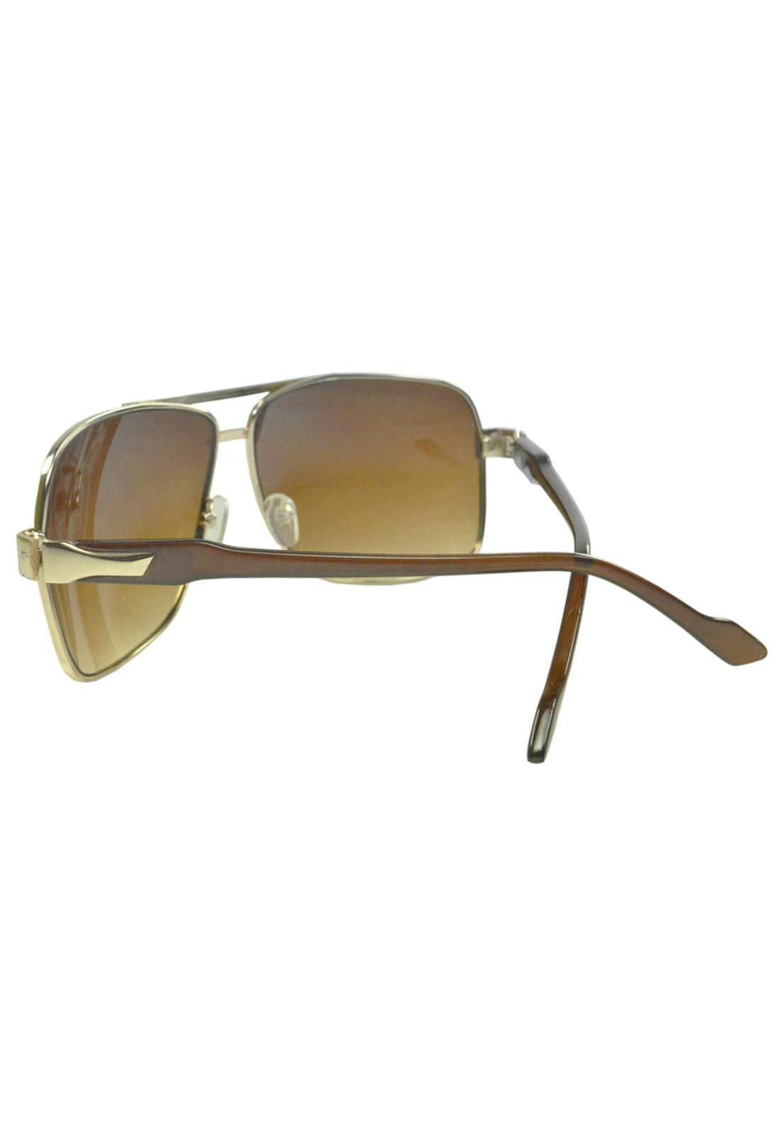 Óculos De Sol Mackage Masculino Metal Retangular - Dourado-Marrom