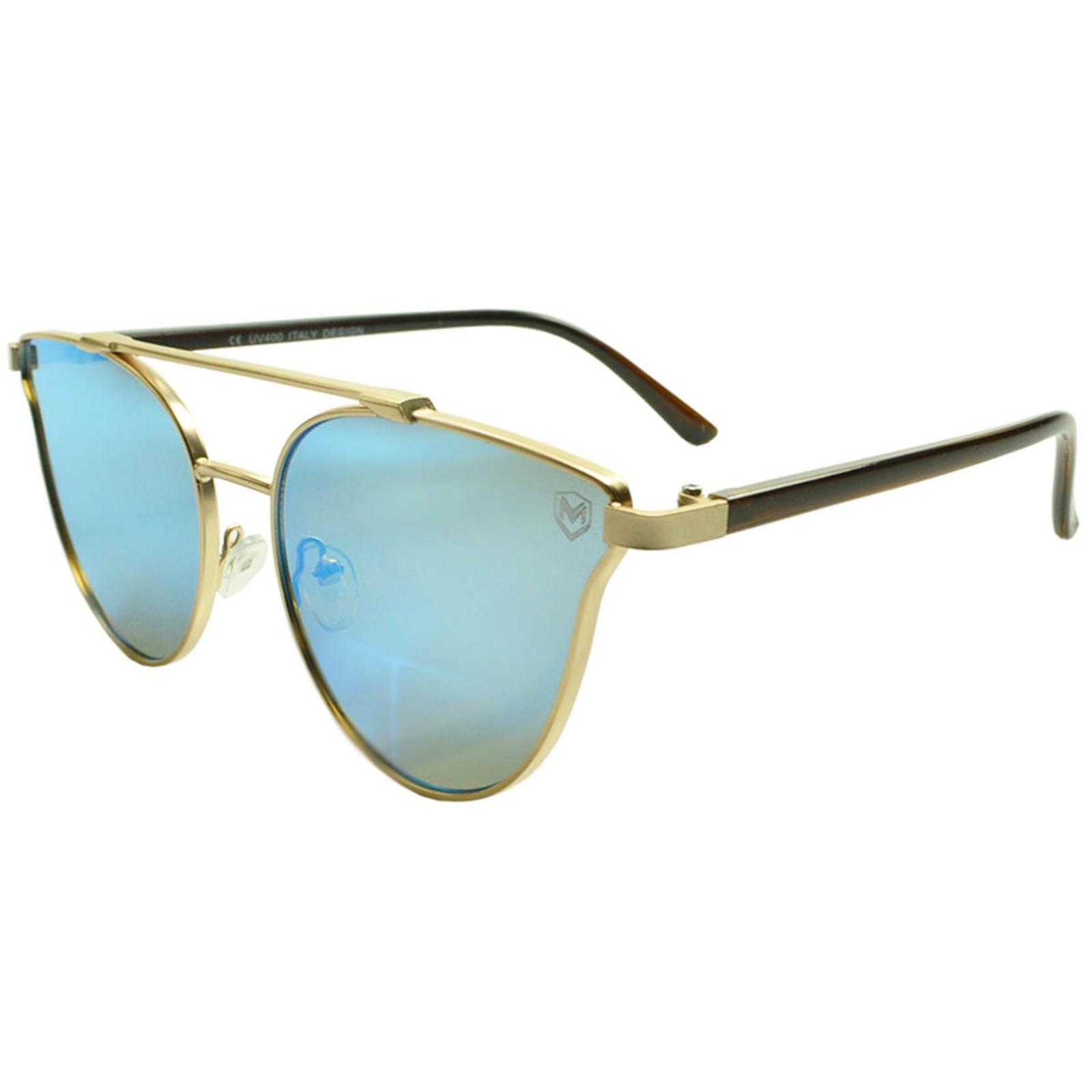 Óculos de Sol Mackage Metal/Acetato Feminino Gateado - Dourado/Azul