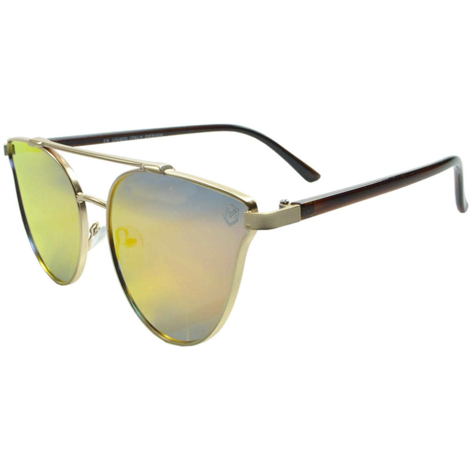 Óculos de Sol Mackage Metal/Acetato Feminino Gateado - Dourado/Vermelho