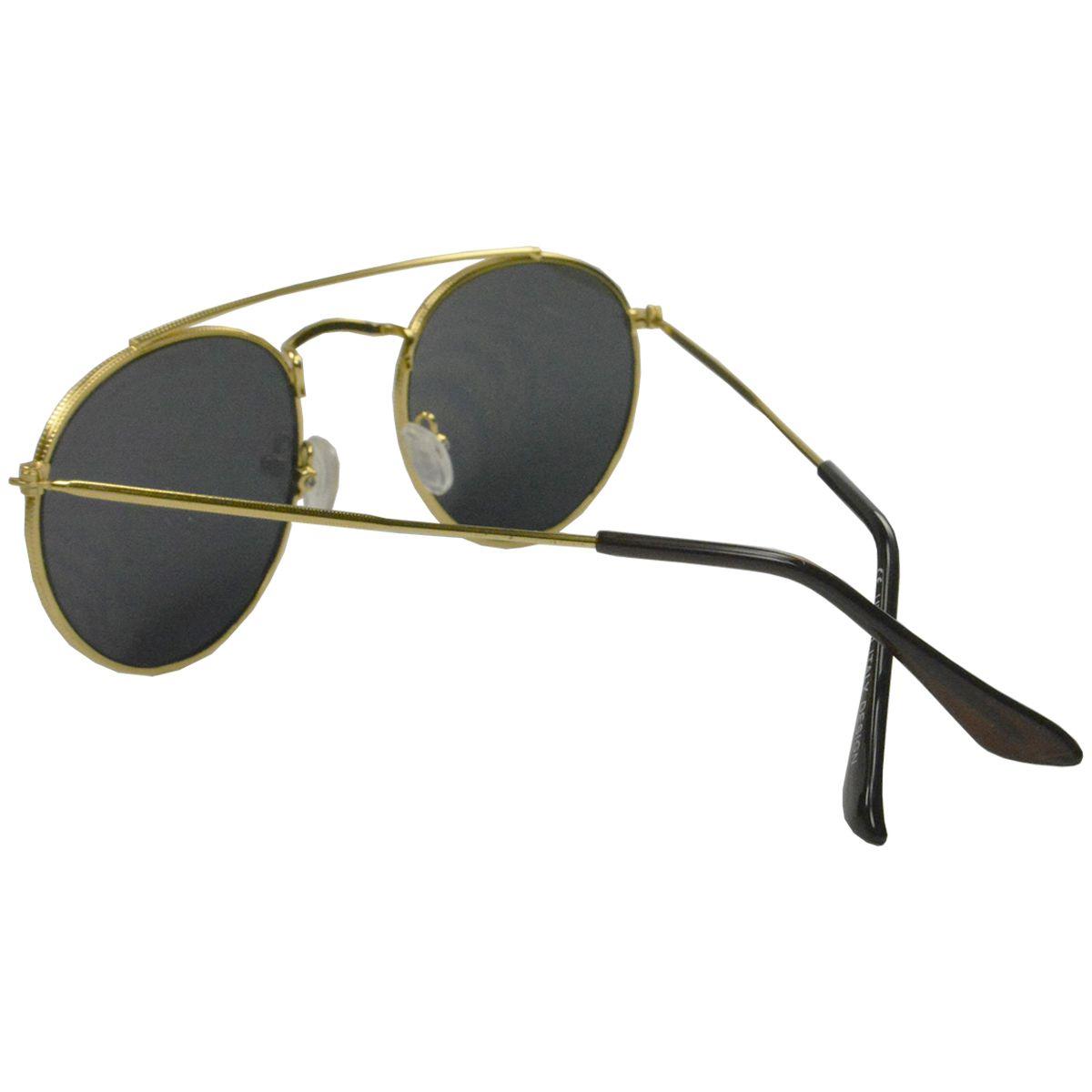 Óculos de Sol Mackage Unissex Metal Aviator Redondo - Dourado