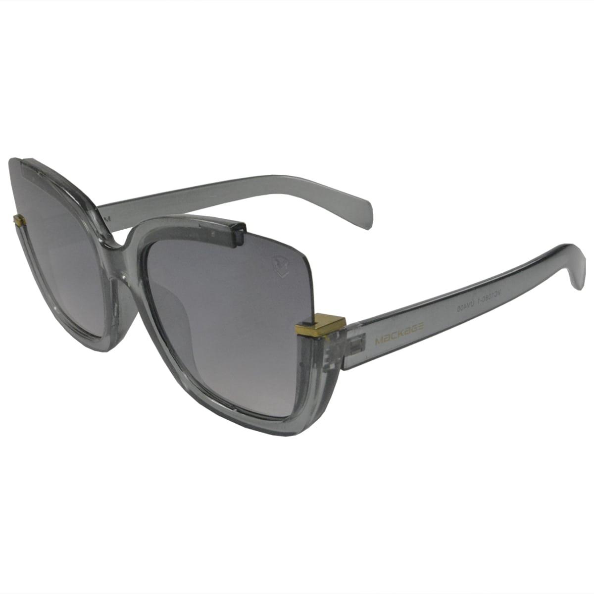 Óculos De Sol Mackage Feminino Acetato Gateado Oversize - Cinza Cristal