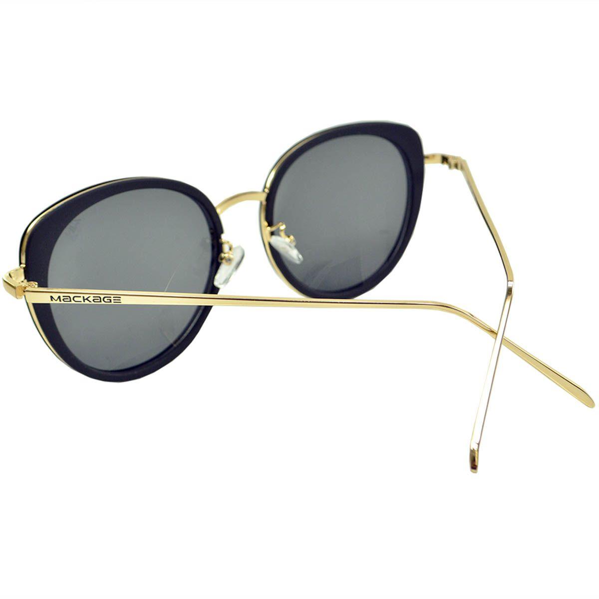 Óculos De Sol Mackage Metal/Acetato Oversize Retangular Gateado - Preto/Dourado