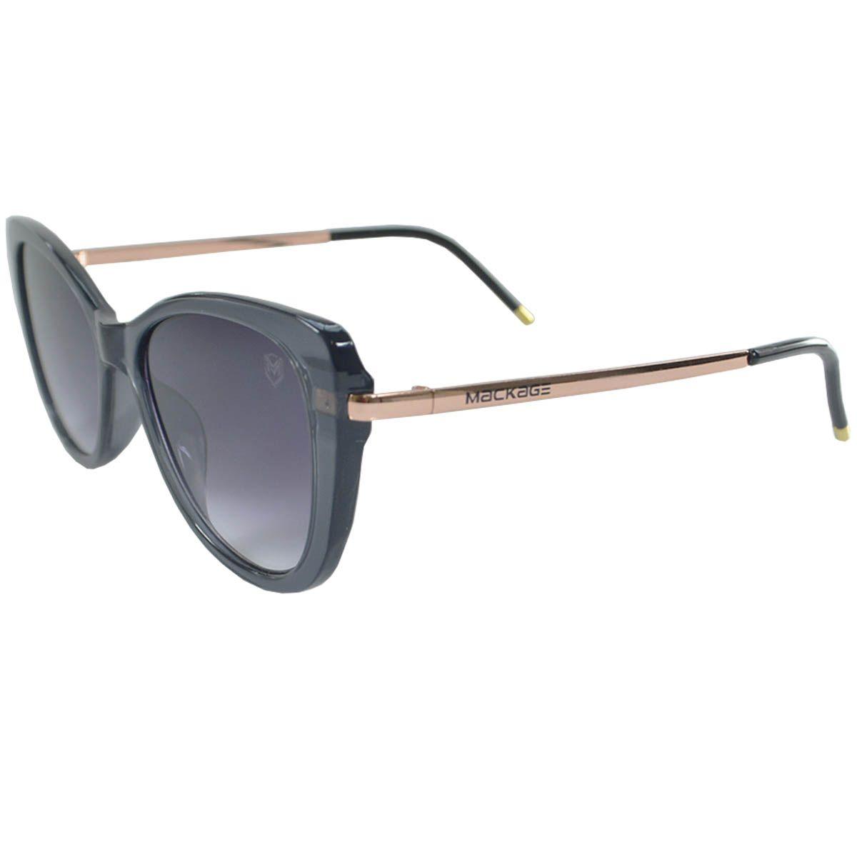 Óculos De Sol Mackage Feminino Acetato/Metal Gateado - Cinza