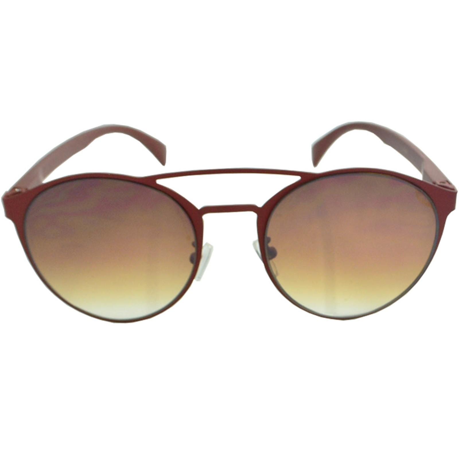 Óculos de Sol Mackage Unisex Metal/Hastes Acetato Redondo - Marrom Fosco
