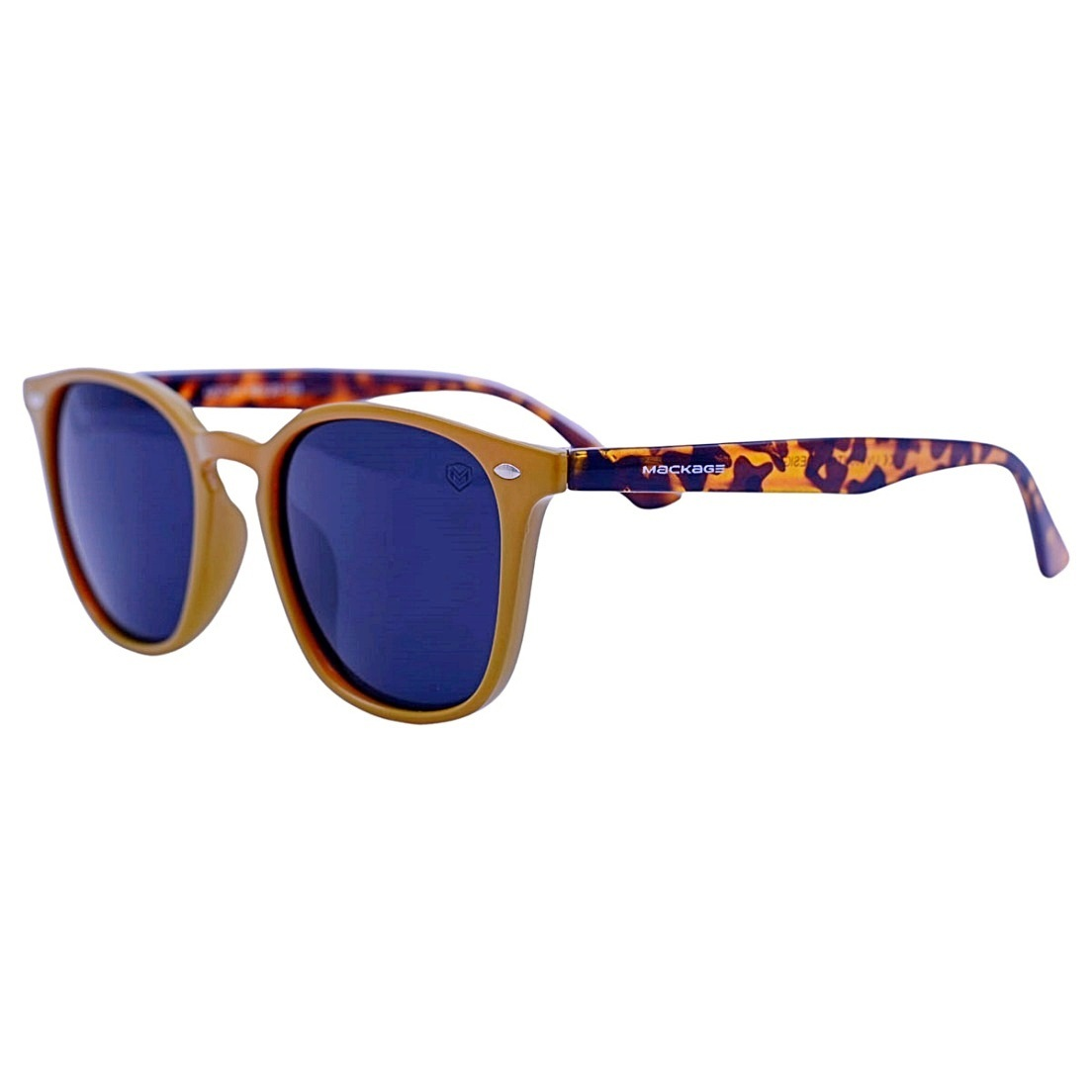 Óculos De Sol Mackage Unissex Acetato Quadrado Wayfarer - Mostarda/Tartaruga