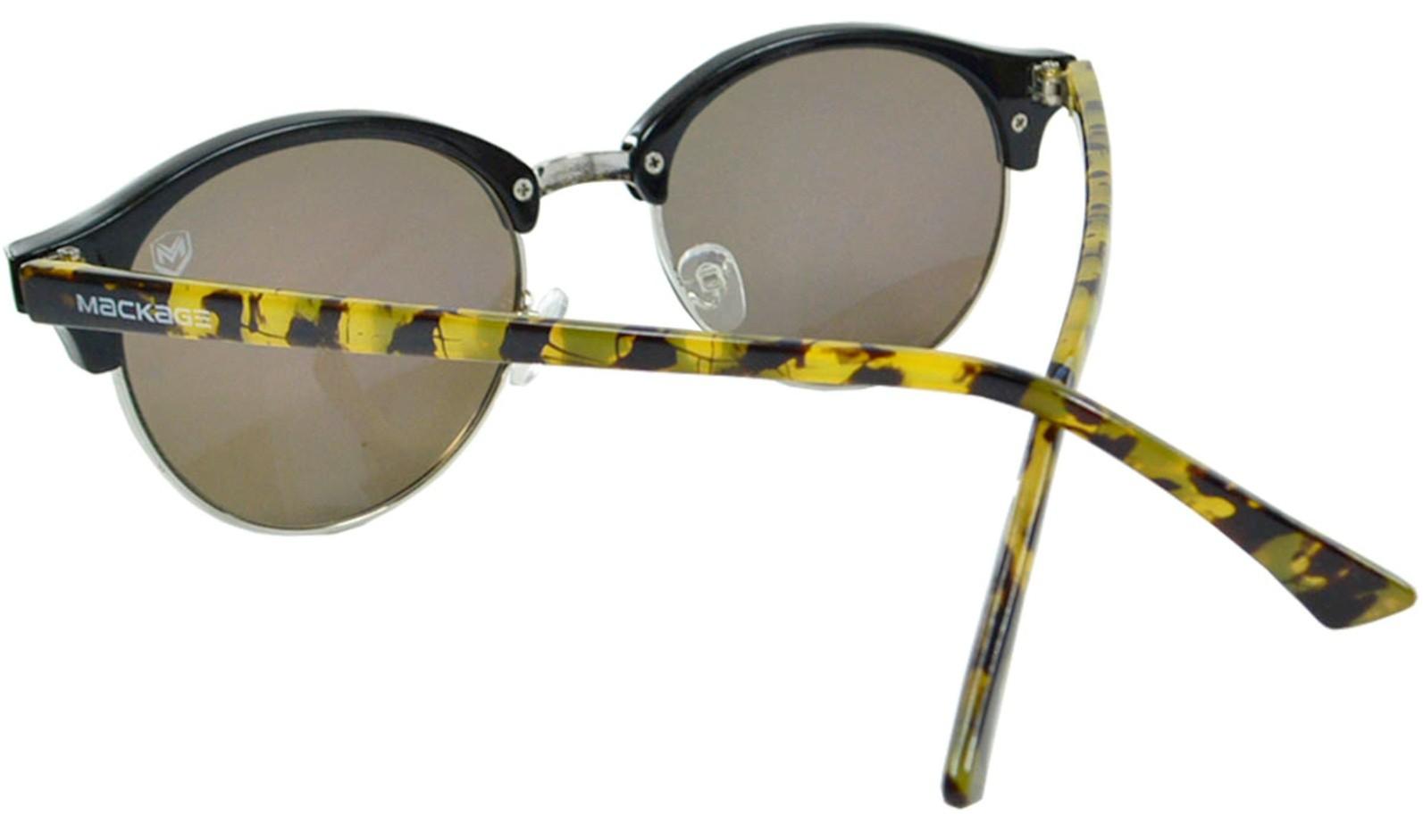 Óculos De Sol Mackage Unissex Acetato Redondo Clubmaster - Preto/Tarta