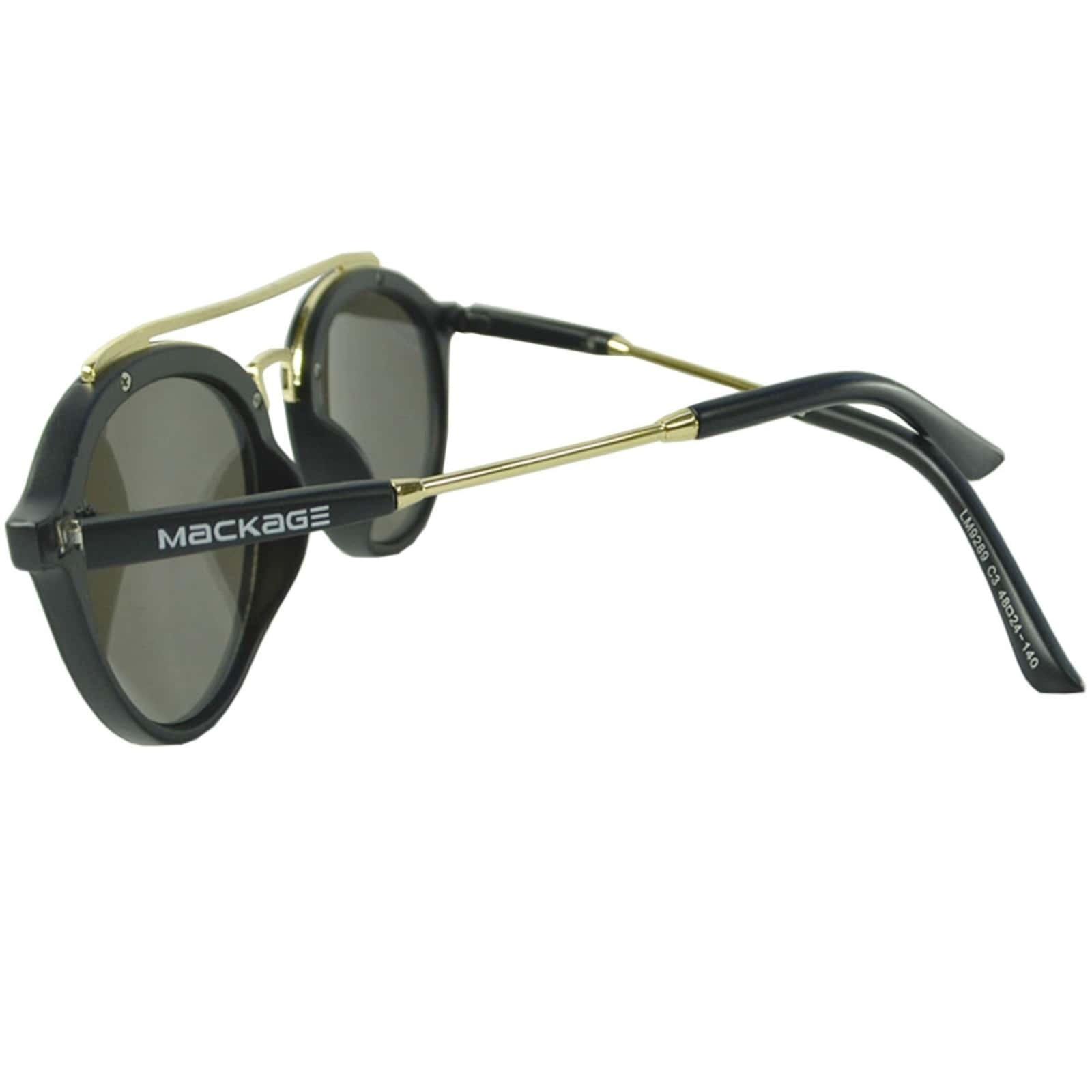 Óculos De Sol Mackage Unissex Acetato Redondo - Preto