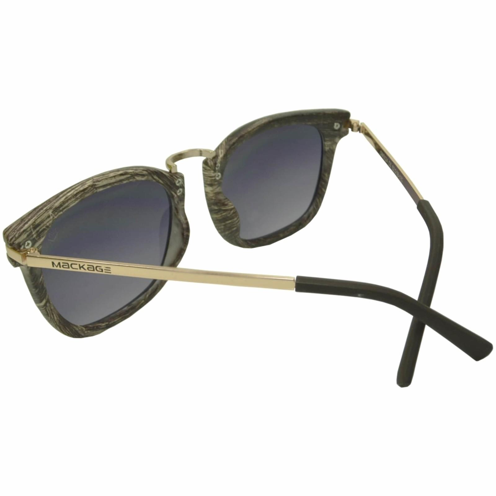 Óculos De Sol Mackage Unissex Acetato Retangular Acabamento Madeirado