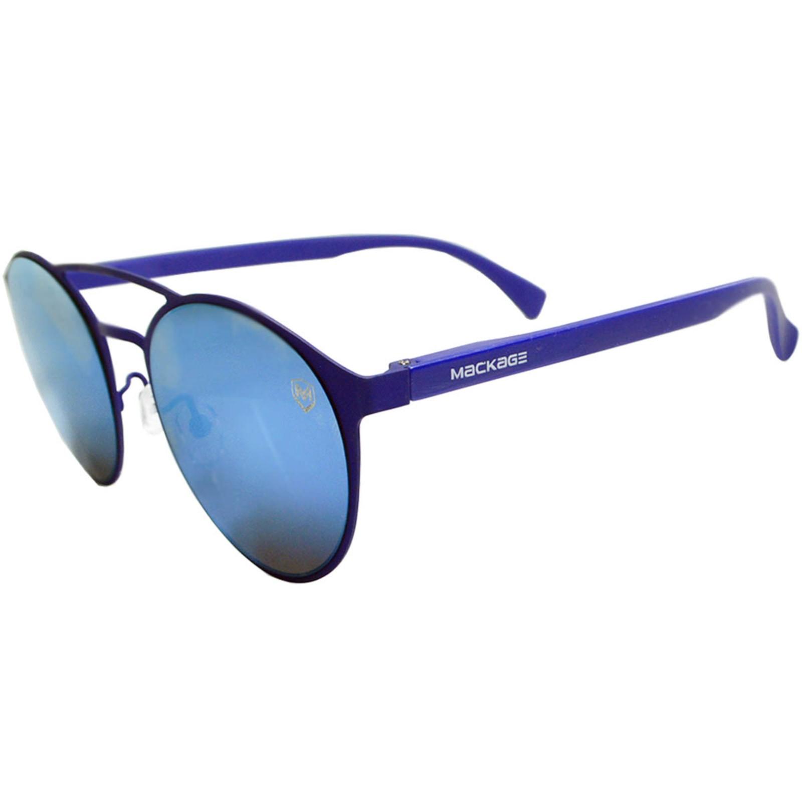 Óculos De Sol Mackage Unissex Metal-Acetato Redondo - Azul