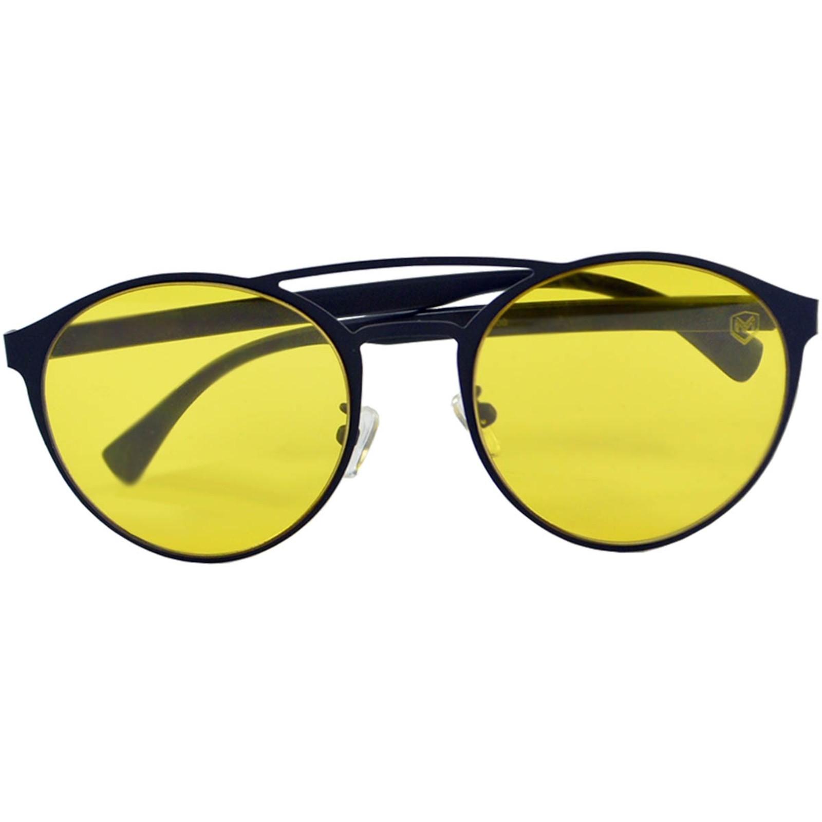 Óculos De Sol Mackage Unissex Metal-Acetato Redondo - Preto/Amarelo