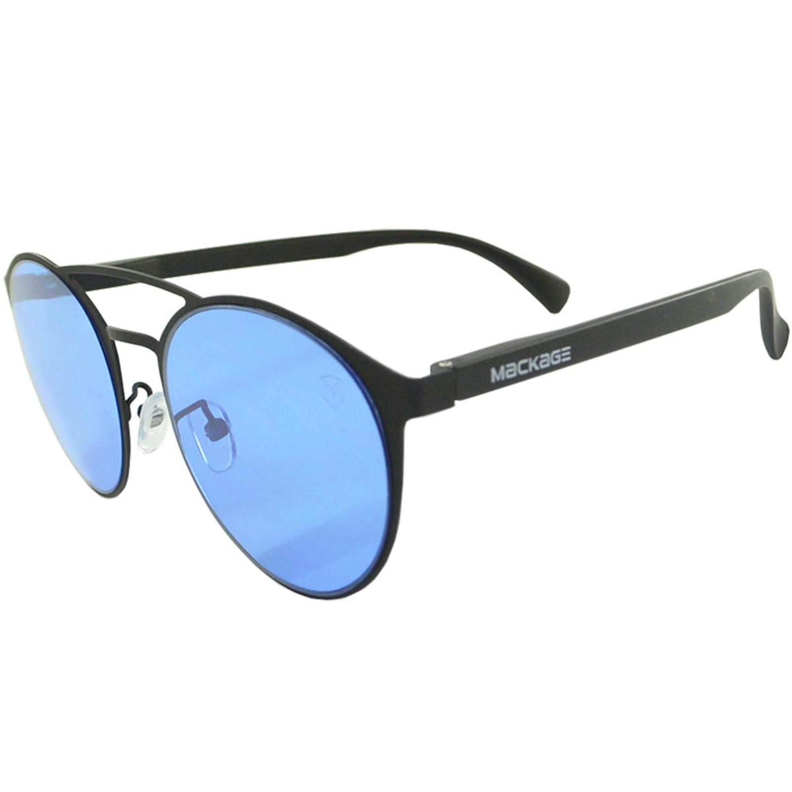 Óculos De Sol Mackage Unissex Metal-Acetato Redondo - Preto/Azul