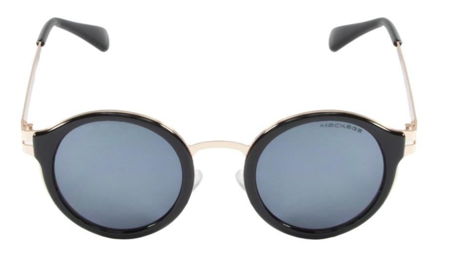 Óculos de Sol Mackage Unissex Metal/Acetato Round - Dourado/Preto